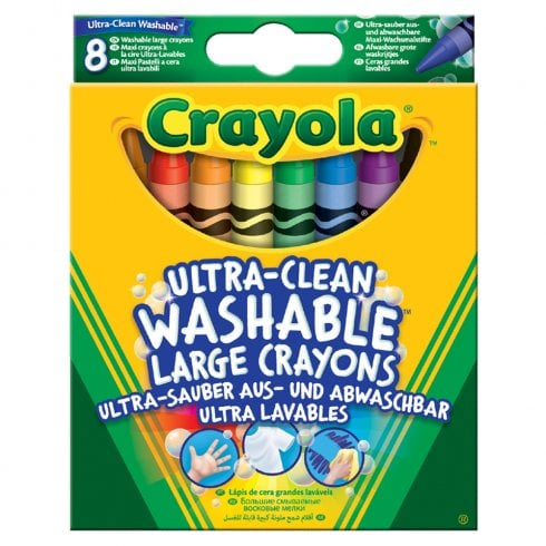8 Large Ultra Clean Washable Large Crayons