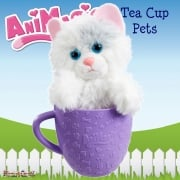 AniMagic Tea Cup Pets - White Kitten Plush