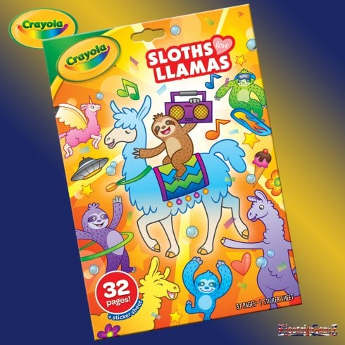 Crayola 32-Page Sloths Love Llamas Colouring Book with Stickers