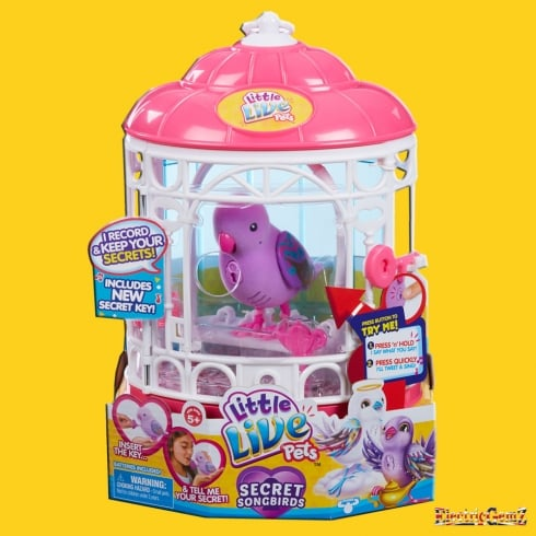 Little Live Pets Tweet Talking Birds Series 7 Secret Songbird with Cage - Purple Teenie Genie