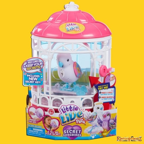 Little Live Pets Tweet Talking Birds Series 7 Secret Songbird with Cage - White Secret Angie