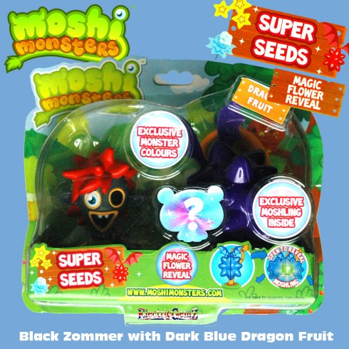 Moshi Monsters Super Seeds Black Zommer with Dark Blue Dragon Fruit