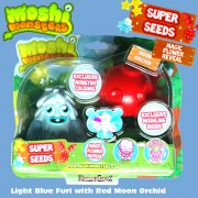 Moshi Monsters Super Seeds Light Blue Furi with Red Moon Orchid