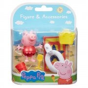 Peppa Pig Beach Figure & Accessories - Peppa in Red Outfit