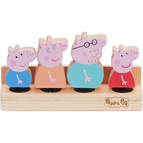Peppa Pig Wooden Family Figures Set on Stand