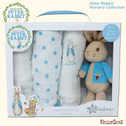 Peter Rabbit Nursery Collection - Peter Rabbit Soft Toy & Muslin Gift Set