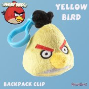 Plush Angry Birds Backpack Clip Yellow
