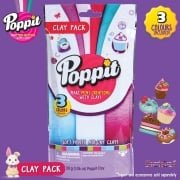 Poppit Soft 'n' Lite Air-Dry Clay Pack - White - Light Purple - Light Blue