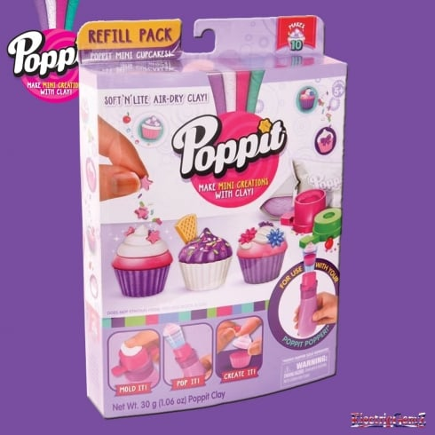 Poppit Soft 'n' Lite Air-Dry Clay Refill Pack - Poppit Mini Cupcakes