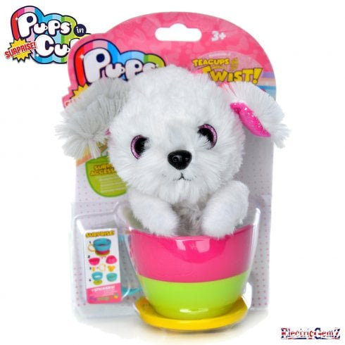Pups in Surprise Cups Collection - Sheepdog with Pink Bow