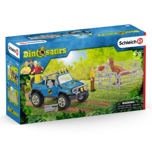 Schleich Dinosaur World Off-Road Vehicle with Dino Outpost and Giganotosaurus