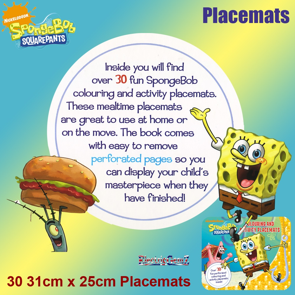 squarepants colouring and activity placemats