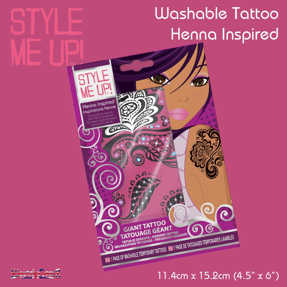 Style me up temporary tattoo henna inspired for Wash off temporary tattoos
